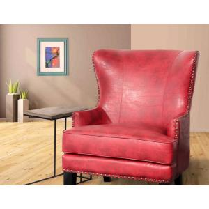 Admirable Grant Red High Back Wingback Crackle Leather Accent Chair Ibusinesslaw Wood Chair Design Ideas Ibusinesslaworg