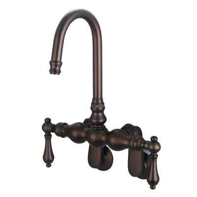 2-Handle Wall Mount Vintage Gooseneck Claw Foot Tub Faucet with Lever Handles in Oil Rubbed Bronze