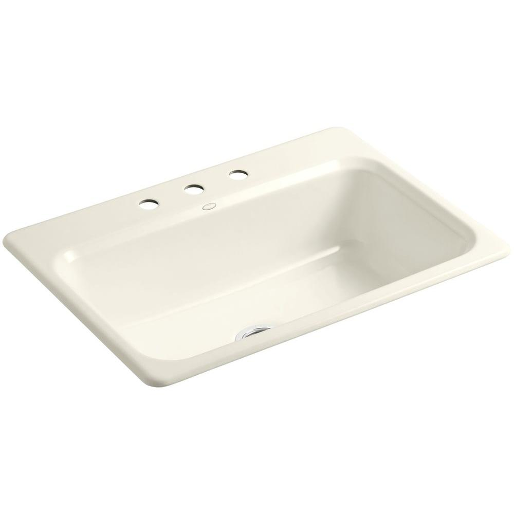KOHLER Bakersfield Drop-In Cast-Iron 31 in. 3-Hole Single Bowl Kitchen Sink in Biscuit