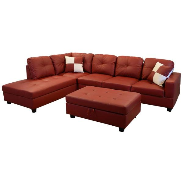 Red Faux Leather Left Chaise Sectional