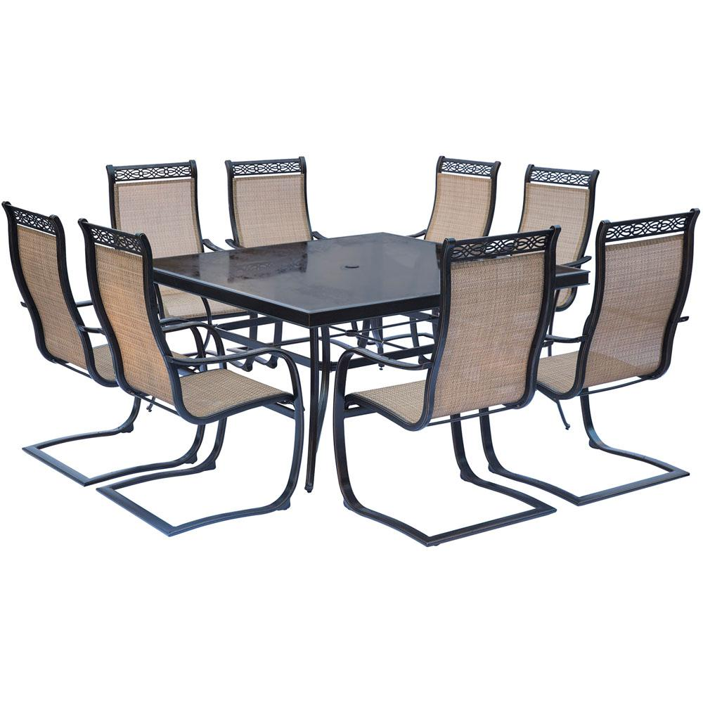 Hanover Monaco 9 Piece Aluminum Outdoor Dining Set With Square Glass Top  Table And Contoured Sling Spring Chairs MONDN9PCSPSQG   The Home Depot