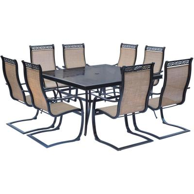 Monaco 9-Piece Aluminum Outdoor Dining Set with Square Glass-Top Table and Contoured Sling Spring Chairs