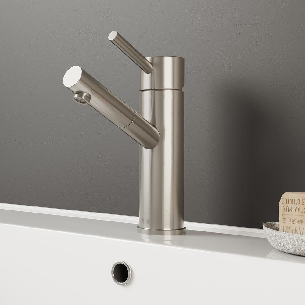 Noma Single Hole Single-Handle Bathroom Faucet in Brushed Nickel