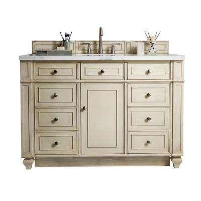 Bristol 48 in. W Single Vanity in Vintage Vanilla with Solid Surface Vanity Top in Arctic Fall with White Basin