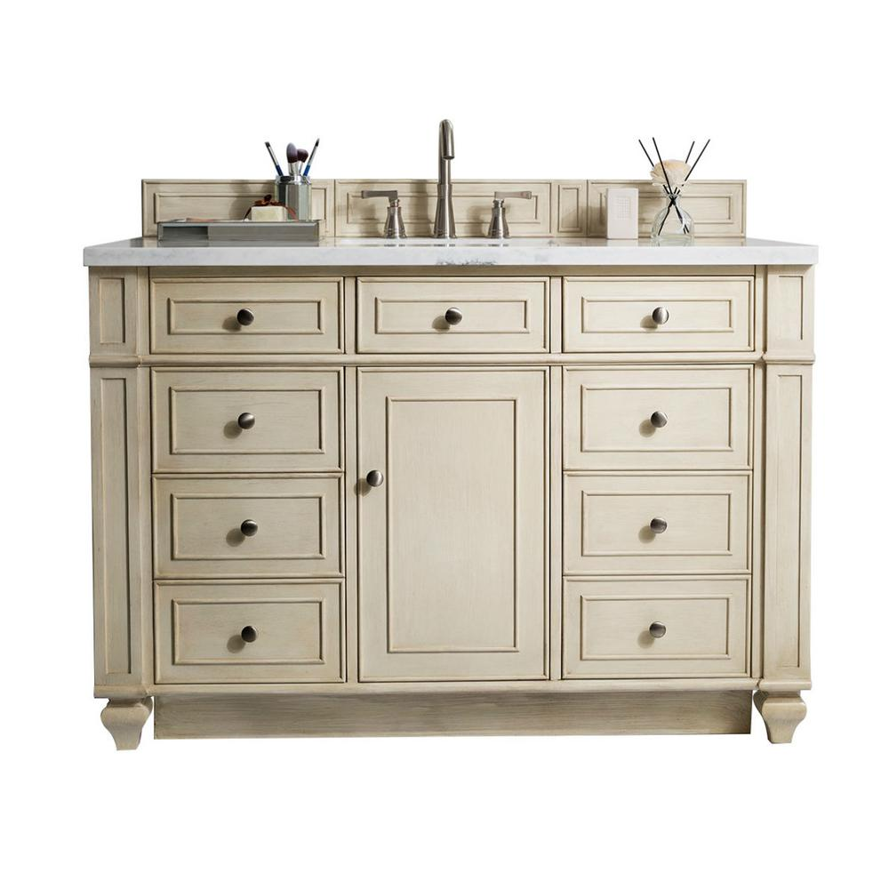 James Martin Vanities Bristol 48 in. W Single Bath Vanity in Vintage Vanilla with Solid Surface Vanity Top in Arctic Fall with White Basin