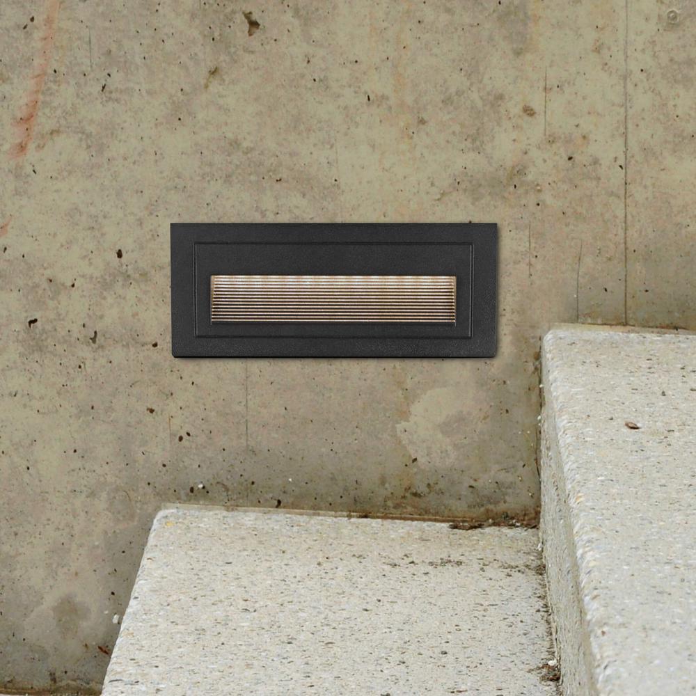 3-Watt Black Outdoor Integrated LED Step Landscape Path Light