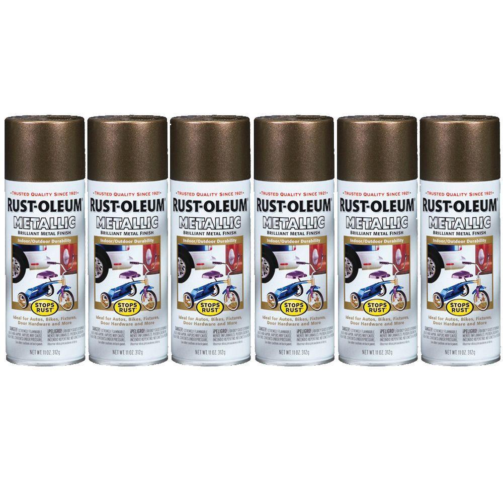 Rust-Oleum Stops Rust 11 oz. Gloss Antique Brass Metallic Spray Paint (6-Pack)-DISCONTINUED