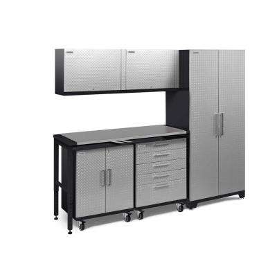 Performance Plus Diamond Plate 2.0 97 in. W x 83.25 in. H x 24 in. D Garage Cabinet Set in Silver (6-Piece)