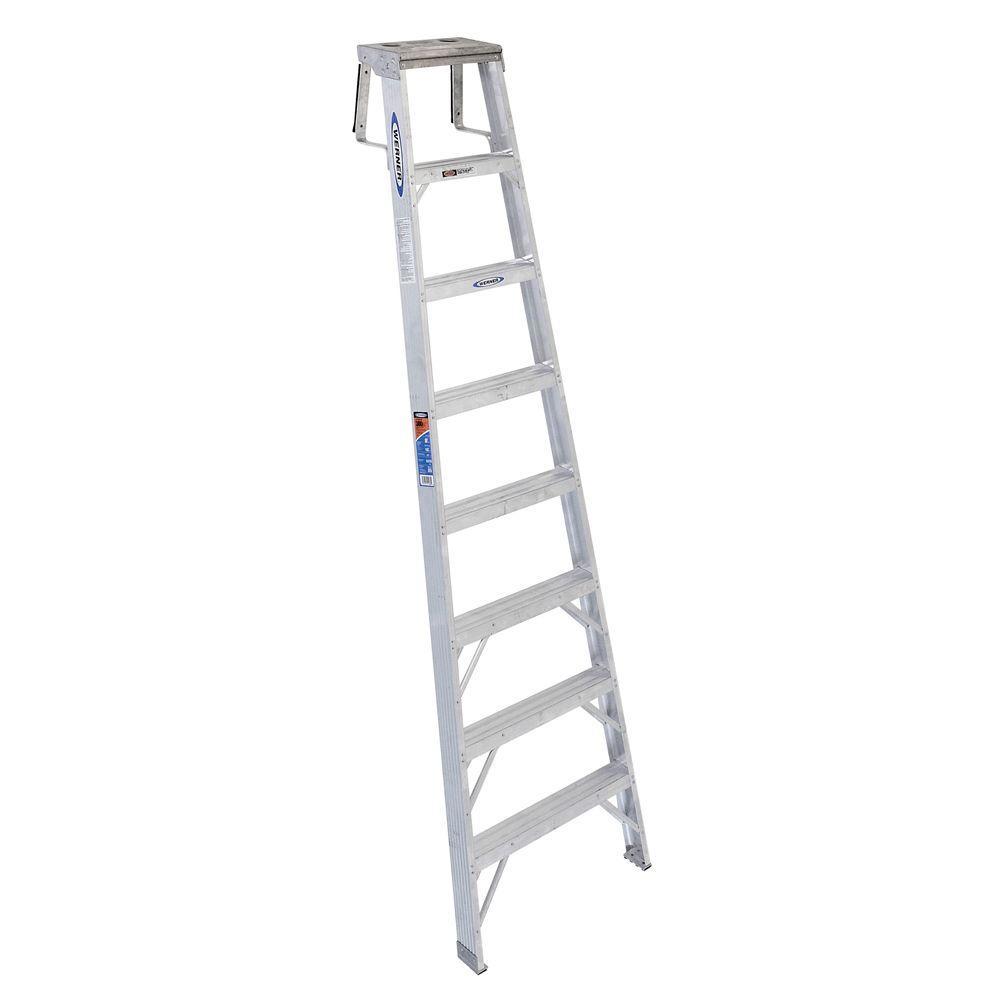 werner 8 ft aluminum shelf step ladder with 300 lb load. Black Bedroom Furniture Sets. Home Design Ideas