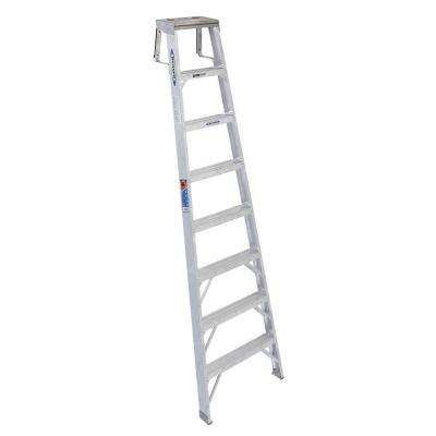 8 ft. Aluminum Shelf Step Ladder with 300 lb. Load Capacity Type IA Duty Rating