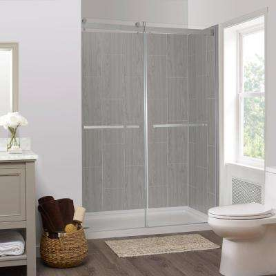 Jetcoat 32 in. x 60 in. x 78 in. 5-Piece Easy-up Adhesive Alcove Shower Surround in Ash Grey Wood