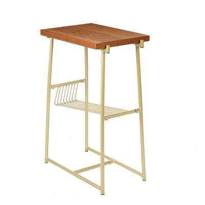Alden Gold and Walnut Industrial Accent Table with Wire Magazine Rack