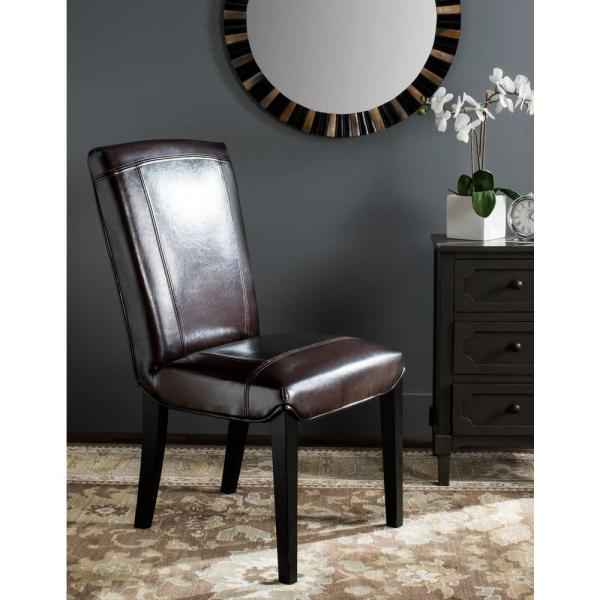 Ken Brown Leather Side Chair (Set of 2)