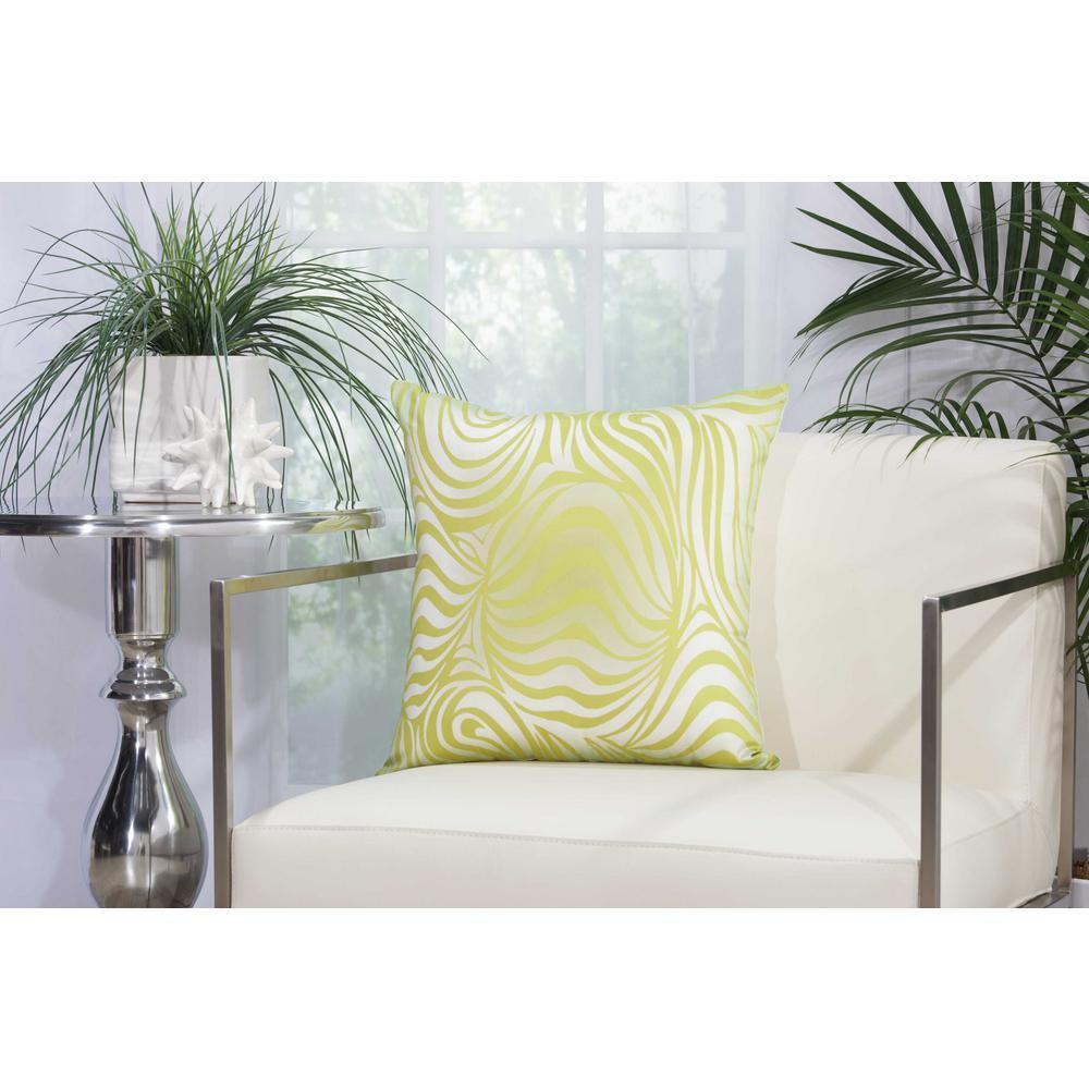 Zebra 18 in. Green Indoor and Outdoor Pillow
