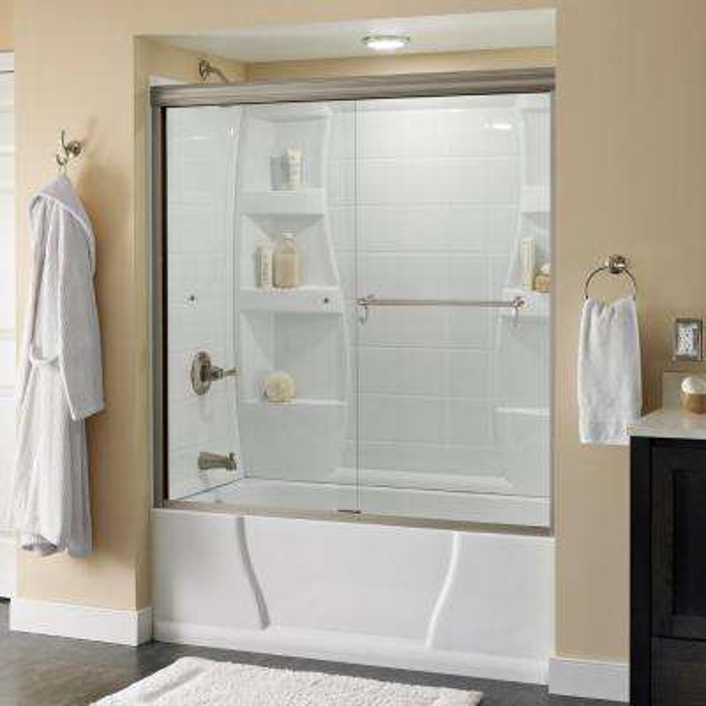 Portman 60 in. x 58-1/8 in. Semi-Frameless Sliding Bathtub Door in Nickel with Clear Glass
