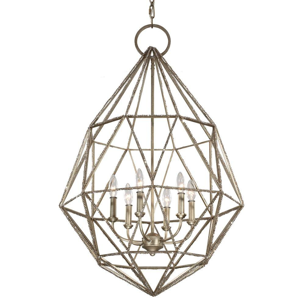 Feiss Marquise 6-Light Burnished Silver Large Pendant