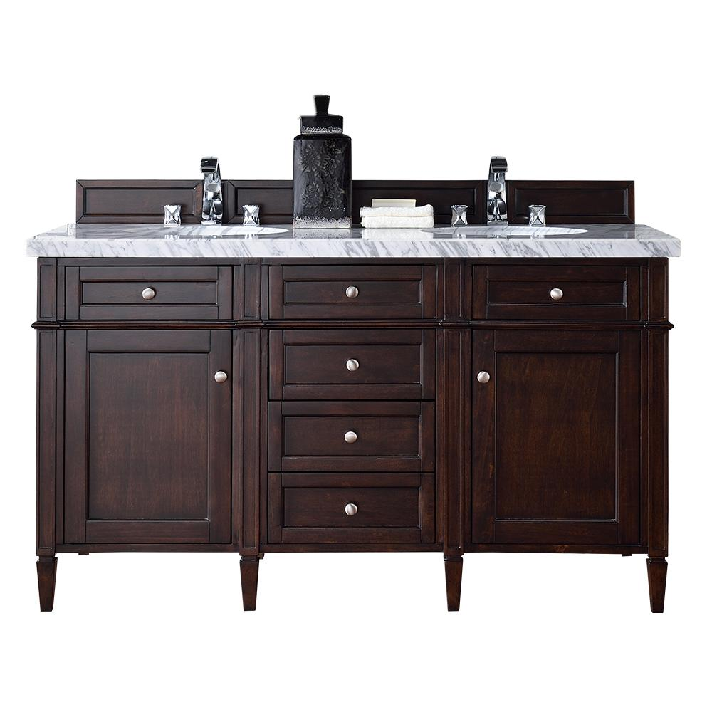 Brittany 60 In W Double Vanity Burnished Mahogany With Marble Top Carrara White Basin