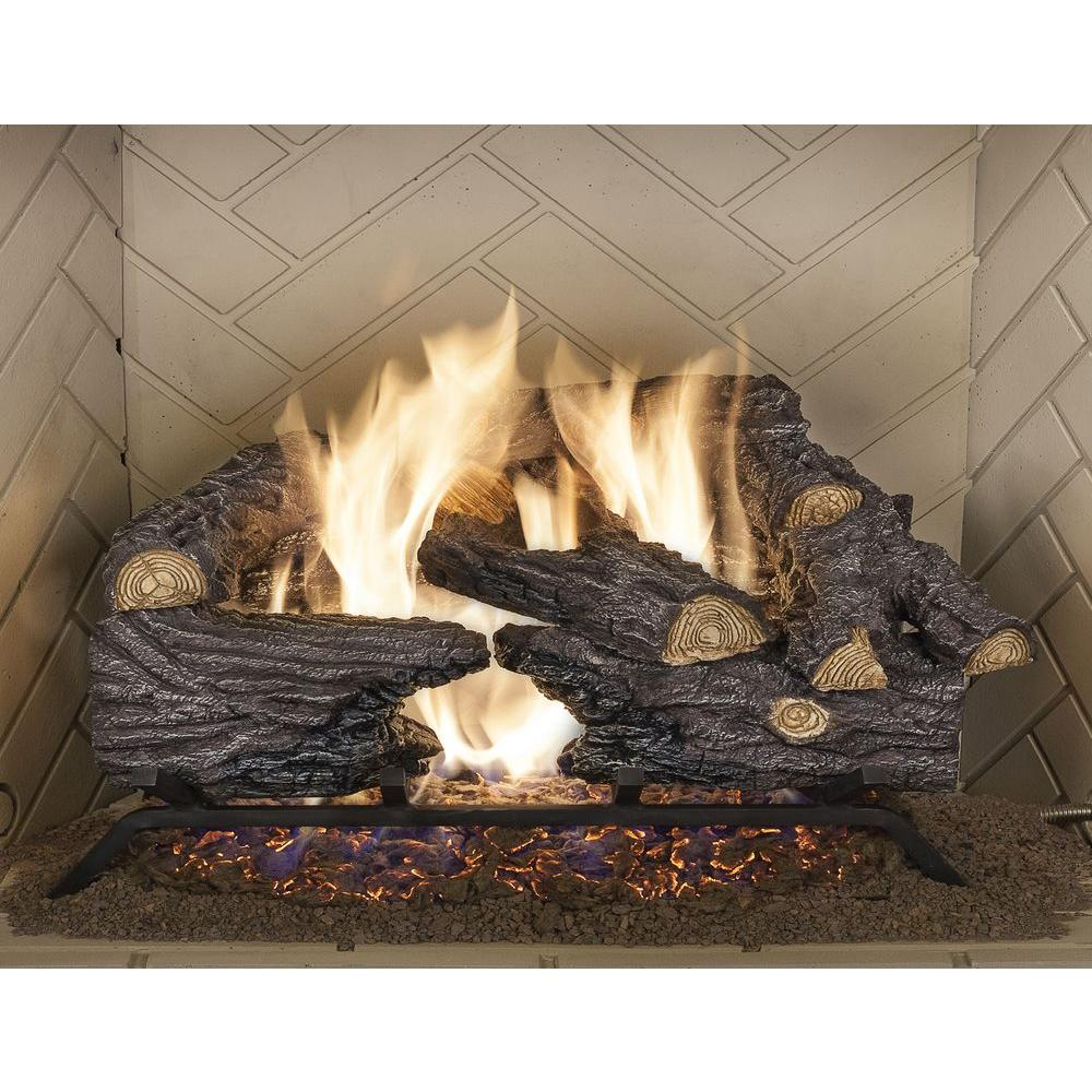 Lend refreshing style into your family space by choosing this Emberglow Split Oak Vented Natural Gas Log Set. Offers durability.