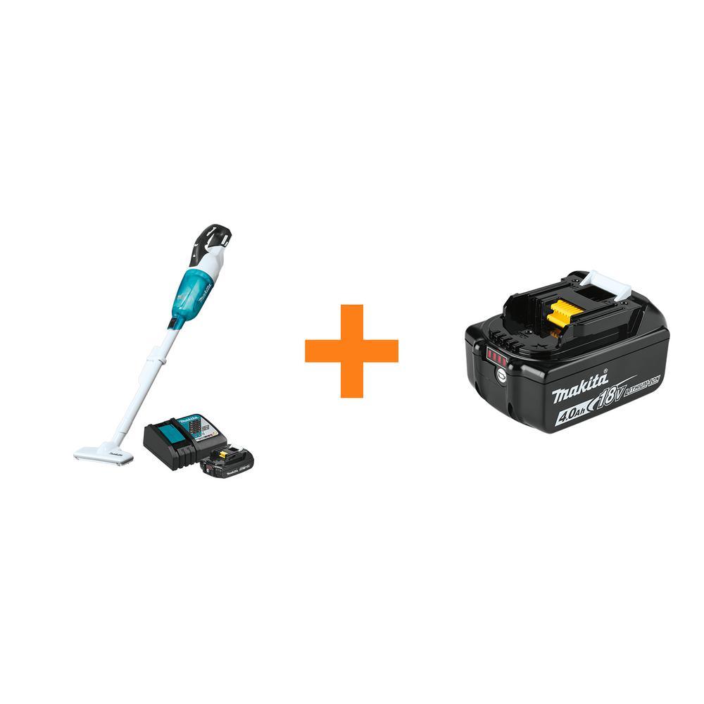 18-Volt LXT Lithium-ion Compact Handheld Brushless Cordless Vacuum Kit, 2.0Ah w/ bonus 18V 4.0Ah LXT Lithium-Ion Battery