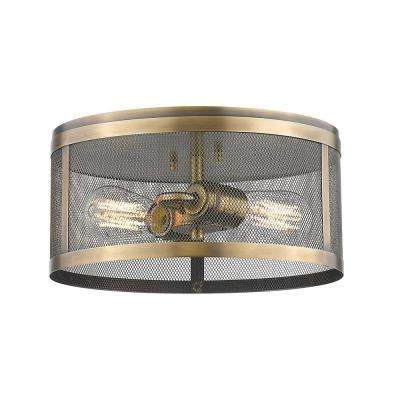 Rakel 2-Light Natural Brass Flushmount with Natural Brass Steel Shade