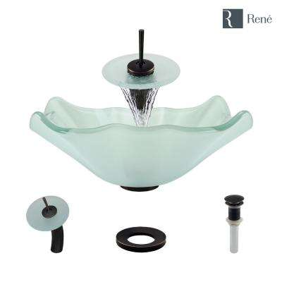 Glass Vessel Sink in Frosted with Waterfall Faucet and Pop-Up Drain in Antique Bronze
