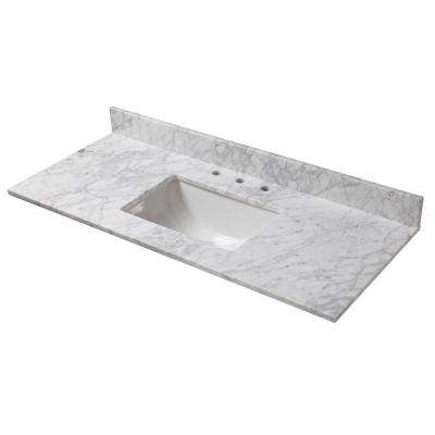 49 in. W x 22 in. D Marble Vanity Top in Carrara with White Trough Basin