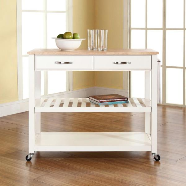 Crosley White Kitchen Cart With Natural Wood Top KF30051WH
