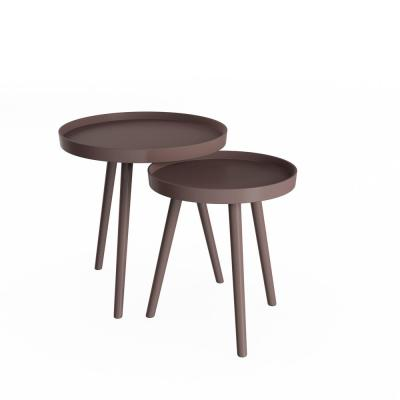 Wooden Nesting Round Tray Top Chocolate Brown Accent Tables (Set of 2)
