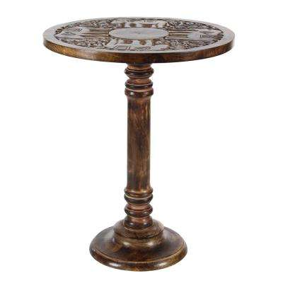 Brown Carved Elephant Wood Accent Table