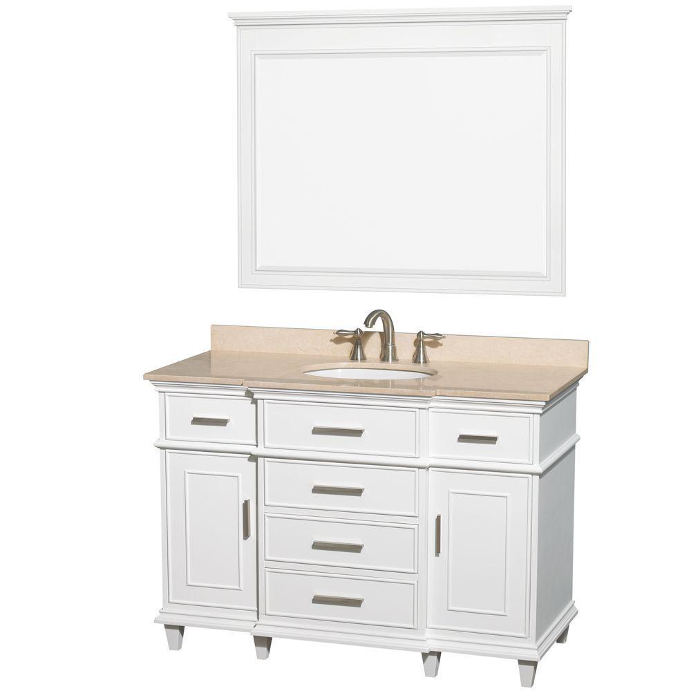Berkeley 48 in. Vanity in White with Marble Vanity Top in