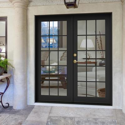 72 in. x 80 in. W-2500 Bronze Clad Wood Right-Hand 15 Lite French Patio Door w/Unfinished Interior