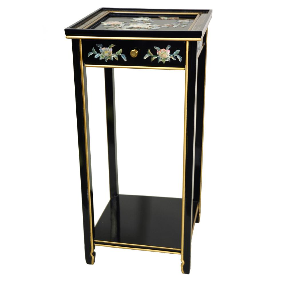 Oriental Furniture 14 in. Lacquer Birds and Flowers Oriental Pedestal in