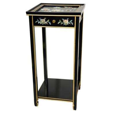 Oriental Furniture 14 in. Lacquer Birds and Flowers Oriental Pedestal in Black