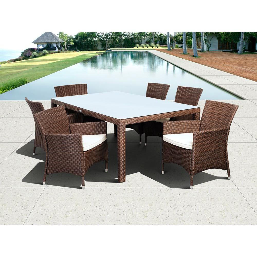 Atlantic Contemporary Lifestyle Grand New Liberty Deluxe Rectangular Brown 7  Piece All Weather Wicker