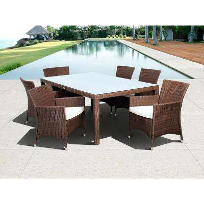 Grand New Liberty Deluxe Rectangular Brown 7-Piece All-Weather Wicker Patio Dining Set with Off-White Cushions