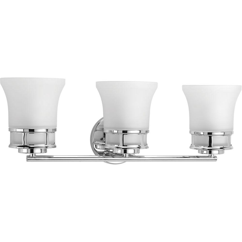 Progress lighting cascadia collection 3 light polished for Chrome bathroom vanity light