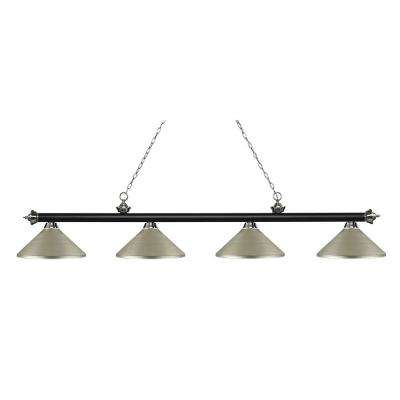 Porter 4-Light Matte Black and Brushed Nickel Billiard Light with Antique Silver Steel Shade