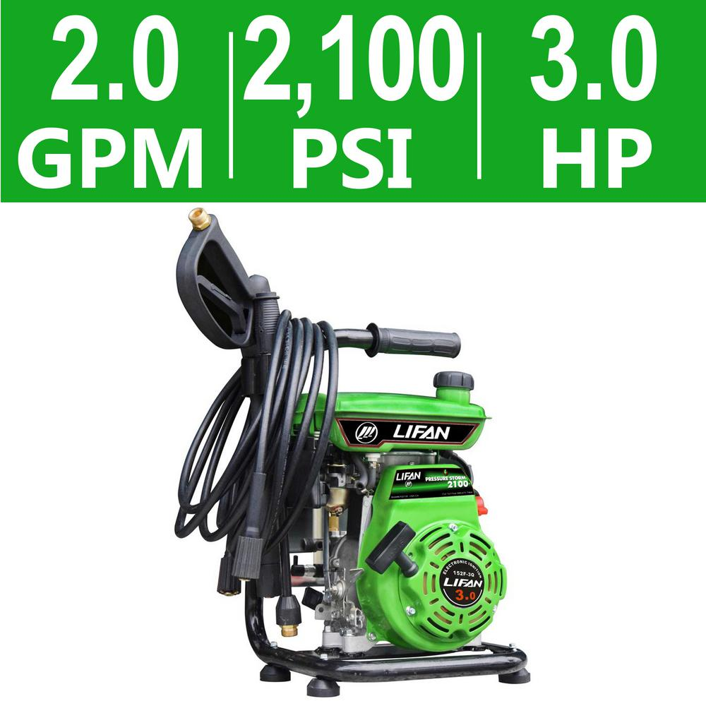LIFAN 2,100 psi 2.0 GPM AR Axial Cam Pump Recoil Start Gas Pressure Washer w/ CARB Compliant