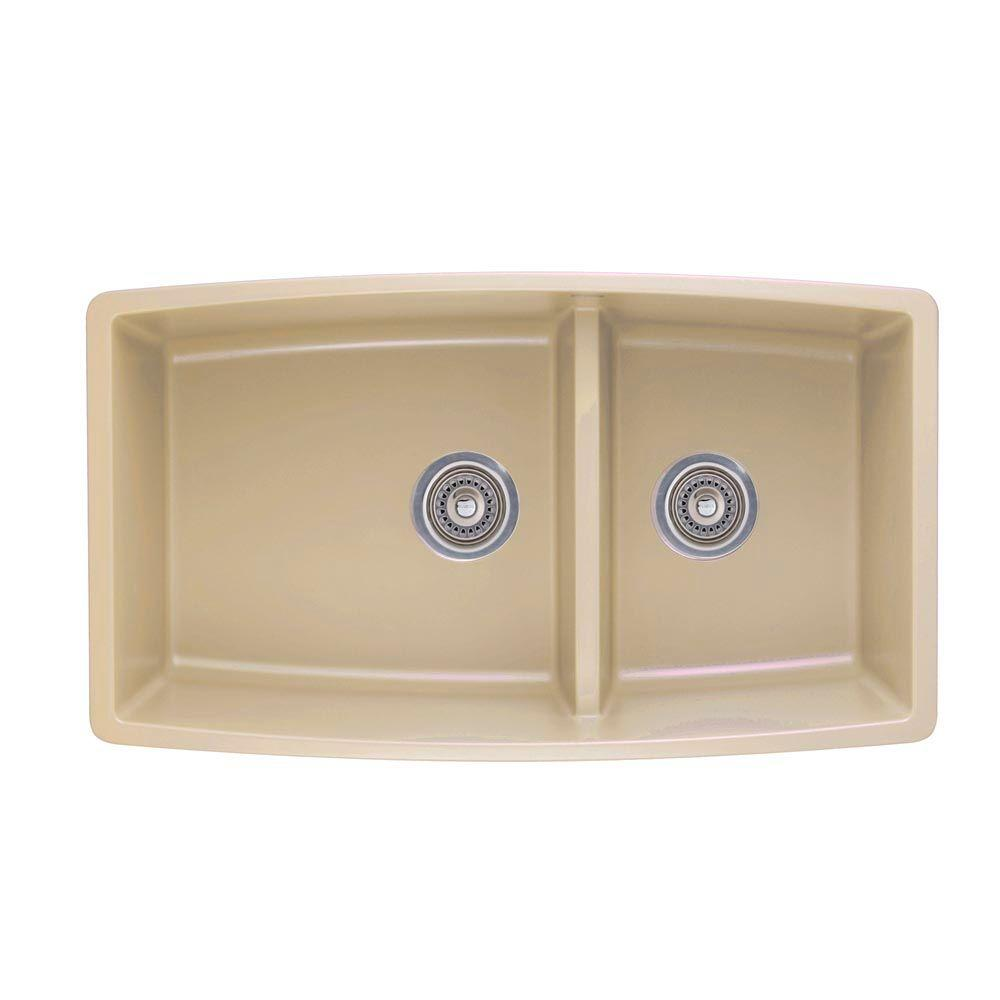 Blanco performa undermount granite composite 33 in 0 hole double bowl kitchen sink in