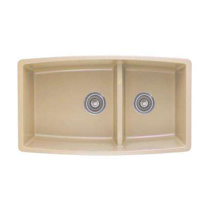 Performa Undermount Granite Composite 33 in. 0-Hole Double Bowl Kitchen Sink in Biscotti