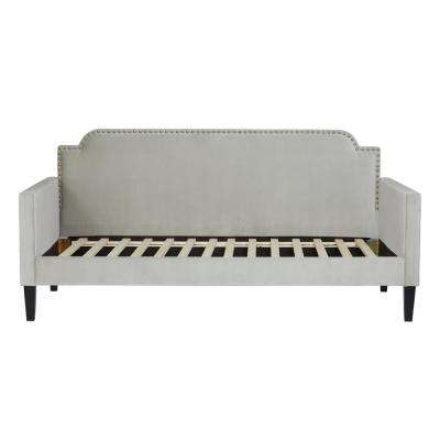 Upholstered Twin-size Rounded Back Daybed in Fawn Gray Velvet