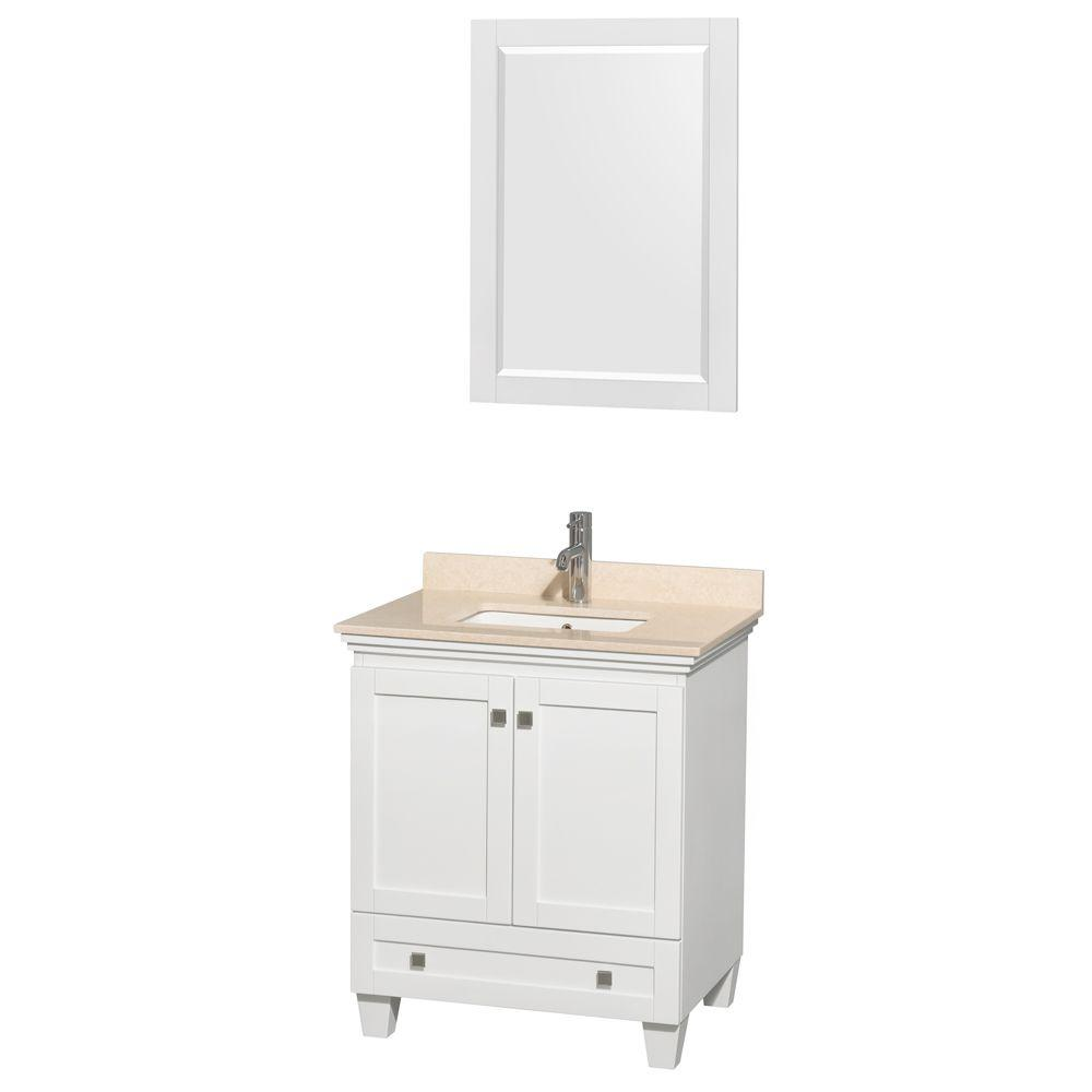 Mayworth 30 in Vanity in Ivory with Quartz Vanity Top in White
