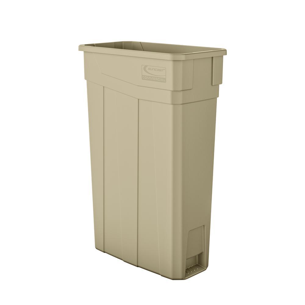 Slim 23 Gal. Sand Plastic Trash Can