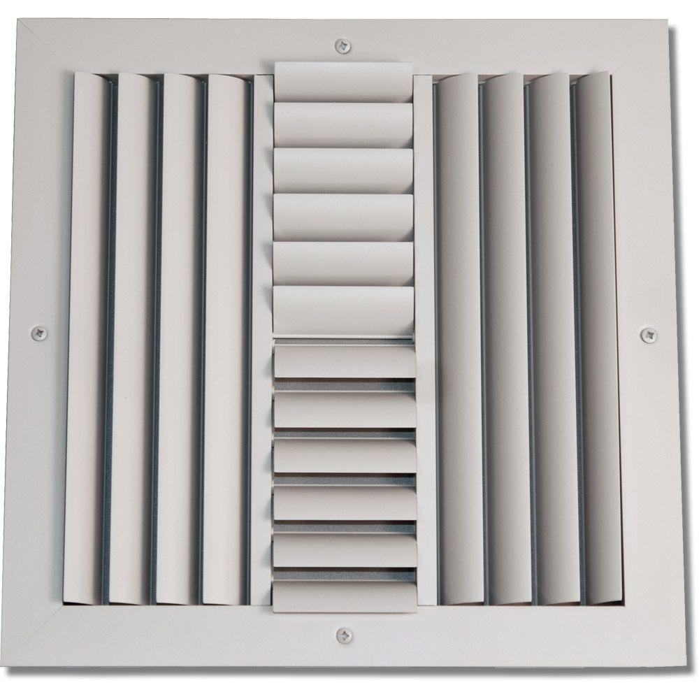 SPEEDIGRILLE 8 in x 8 in Aluminum 4Way Ceiling Register White