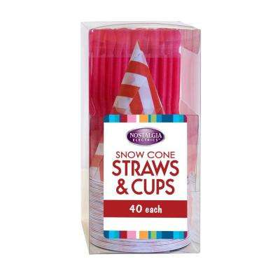 Snow Cone Straws and Cups (Set of 40)