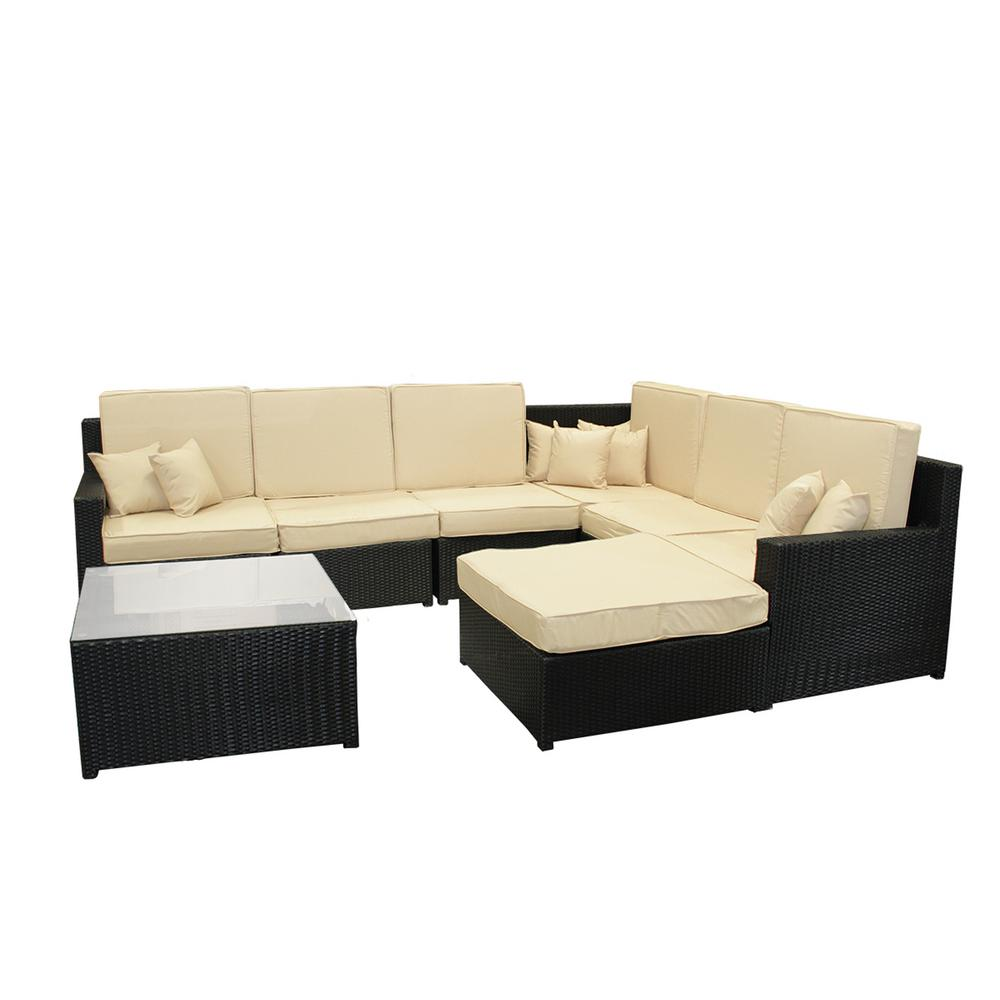 Awesome Cc Outdoor Living 34 25 In Black 8 Piece Resin Wicker Outdoor Furniture Sectional Sofa Table And Ottoman Set With Beige Cushion Inzonedesignstudio Interior Chair Design Inzonedesignstudiocom