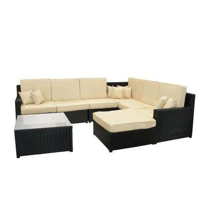 34.25 in. Black 8-Piece Resin Wicker Outdoor Furniture Sectional Sofa Table and Ottoman Set with Beige Cushion
