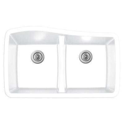 Undermount Quartz Composite 33 in. 50/50 Double Bowl Kitchen Sink in White