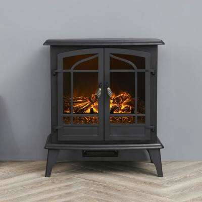 25 in. Freestanding Electric Fireplace in Black
