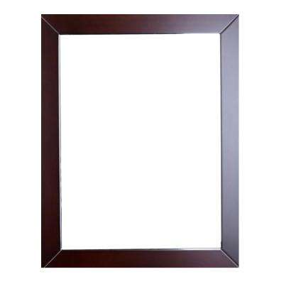 New York 24 in. W x 31 in. H Full Frame Wall Mounted Vanity Bathroom Mirror in Teak